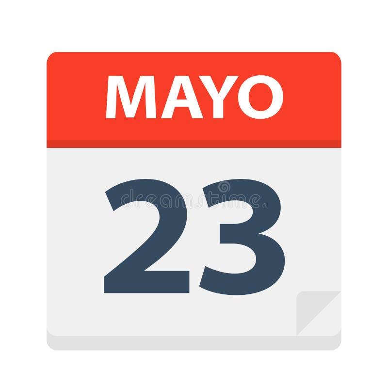 Mayo 23 - Kalenderpictogram - 23 Mei Vectorillustratie van Spaans Kalenderblad royalty-vrije illustratie