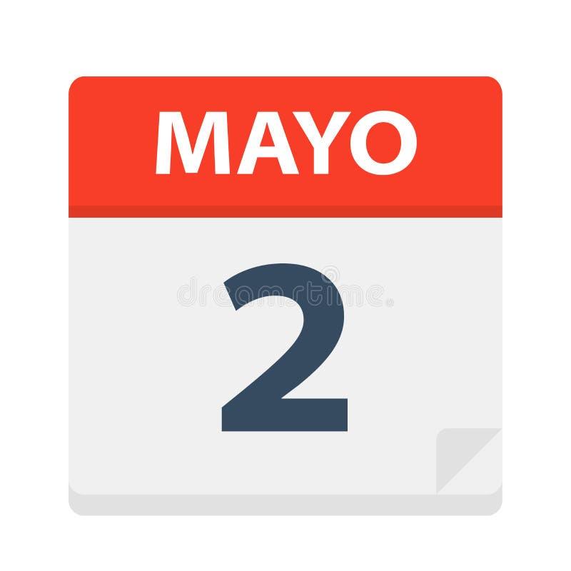 Mayo 2 - kalendersymbolen - Maj 2 Vektorillustration av det spanska kalenderbladet vektor illustrationer