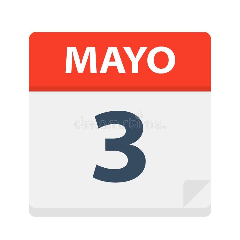 Mayo 3 - kalendersymbolen - Maj 3 Vektorillustration av det spanska kalenderbladet royaltyfri illustrationer