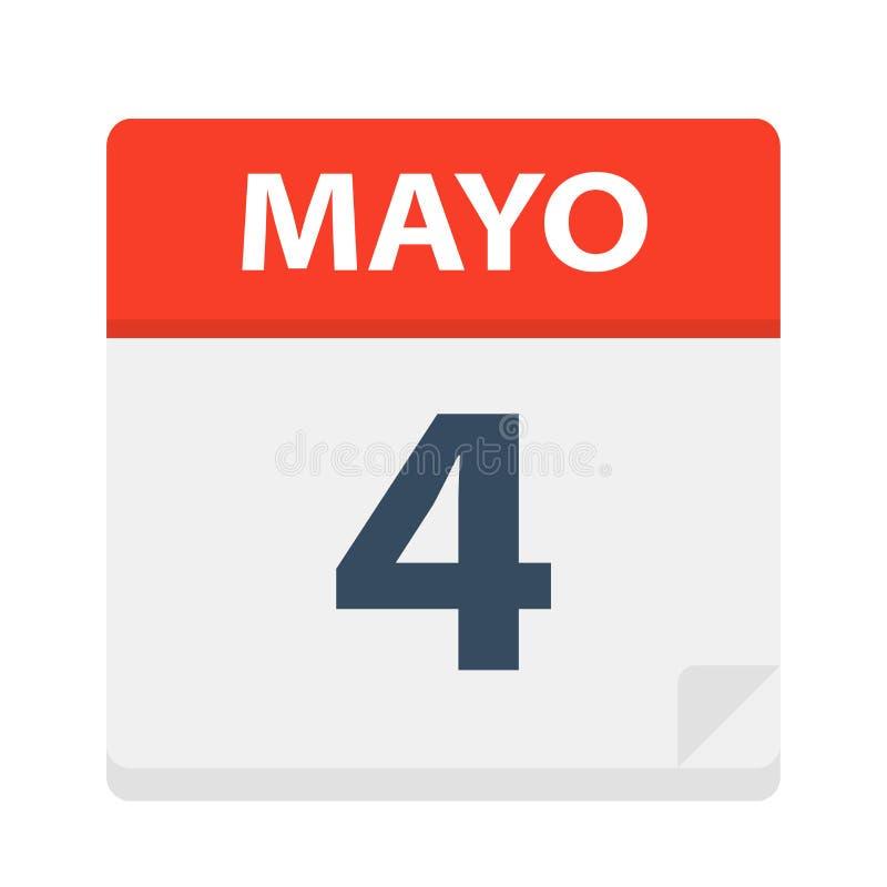 Mayo 4 - kalendersymbolen - Maj 4 Vektorillustration av det spanska kalenderbladet vektor illustrationer