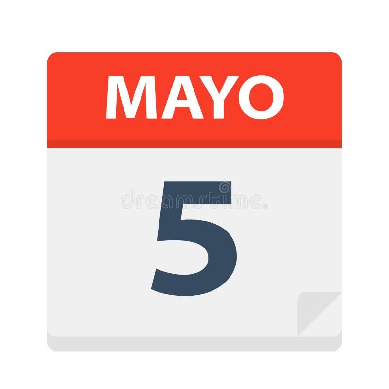 Mayo 5 - kalendersymbolen - Maj 5 Vektorillustration av det spanska kalenderbladet stock illustrationer