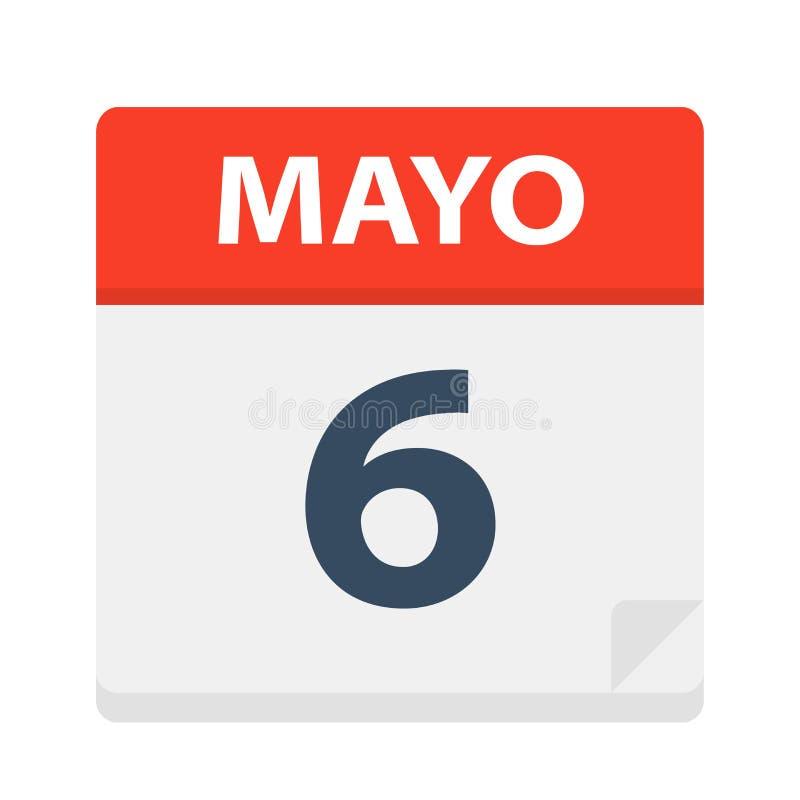 Mayo 6 - kalendersymbolen - Maj 6 Vektorillustration av det spanska kalenderbladet royaltyfri illustrationer