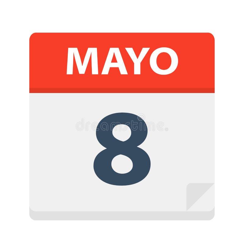 Mayo 8 - kalendersymbolen - Maj 8 Vektorillustration av det spanska kalenderbladet vektor illustrationer