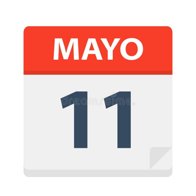 Mayo 11 - kalendersymbolen - Maj 11 Vektorillustration av det spanska kalenderbladet stock illustrationer