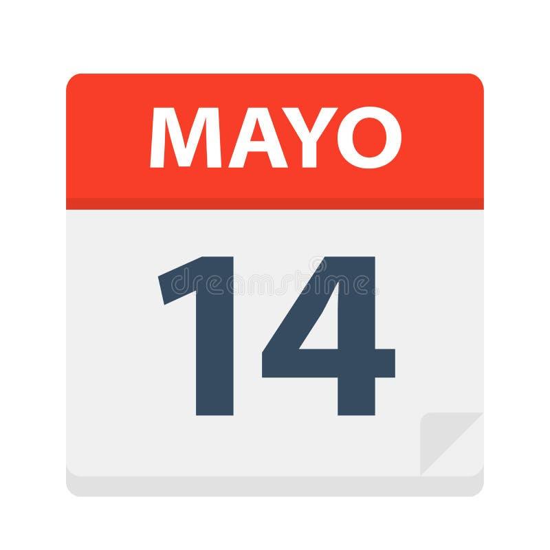 Mayo 14 - kalendersymbolen - Maj 14 Vektorillustration av det spanska kalenderbladet vektor illustrationer