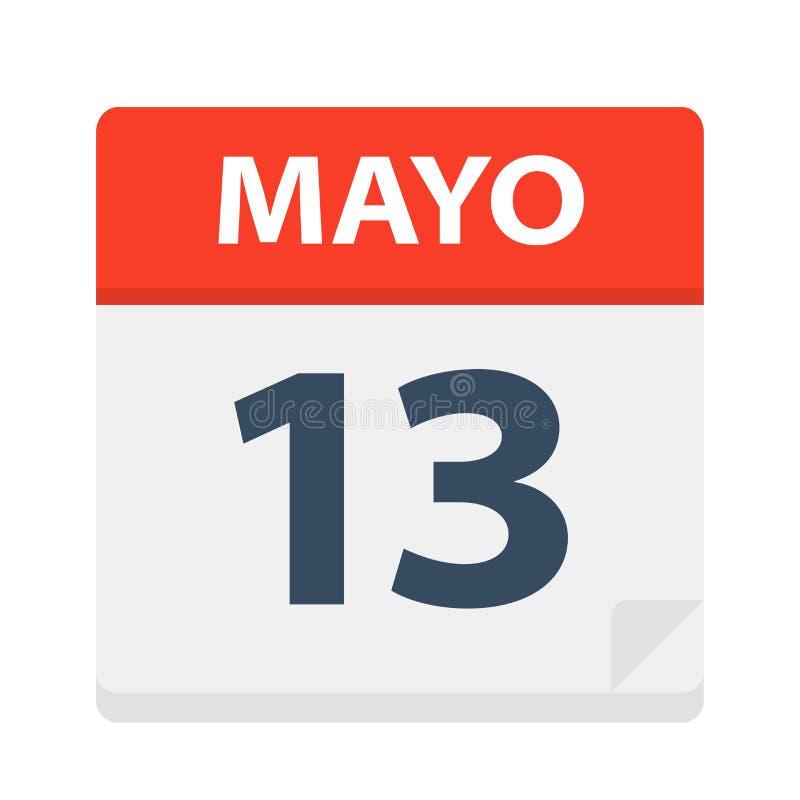 Mayo 13 - kalendersymbolen - Maj 13 Vektorillustration av det spanska kalenderbladet stock illustrationer