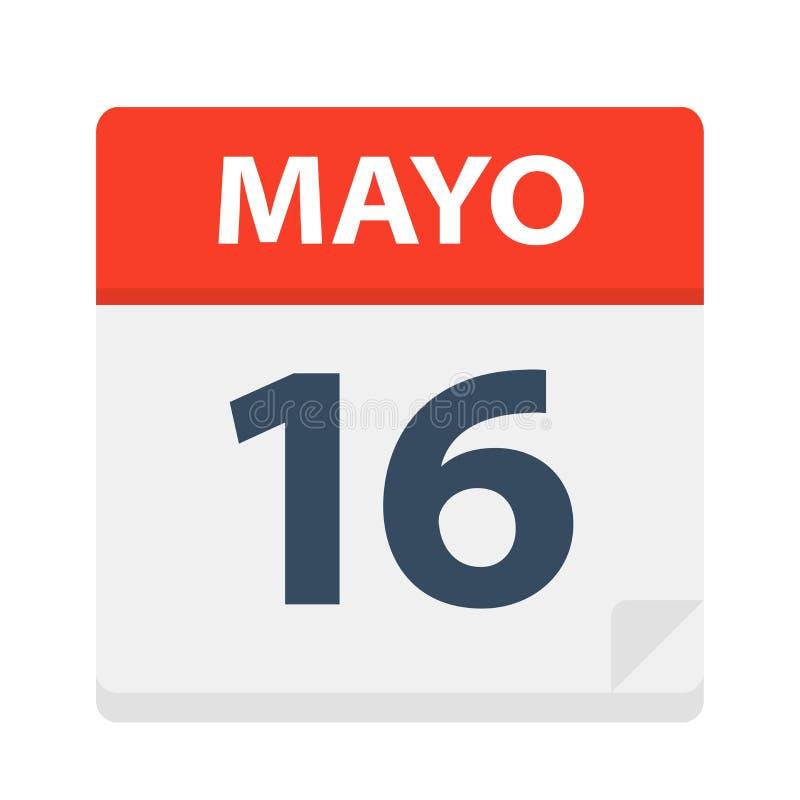 Mayo 16 - kalendersymbolen - Maj 16 Vektorillustration av det spanska kalenderbladet stock illustrationer