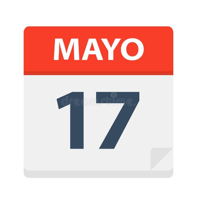 Mayo 17 - kalendersymbolen - Maj 17 Vektorillustration av det spanska kalenderbladet stock illustrationer