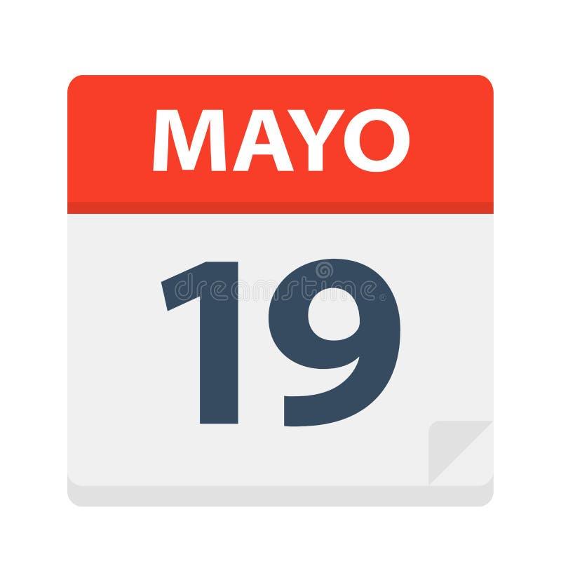 Mayo 19 - kalendersymbolen - Maj 19 Vektorillustration av det spanska kalenderbladet vektor illustrationer