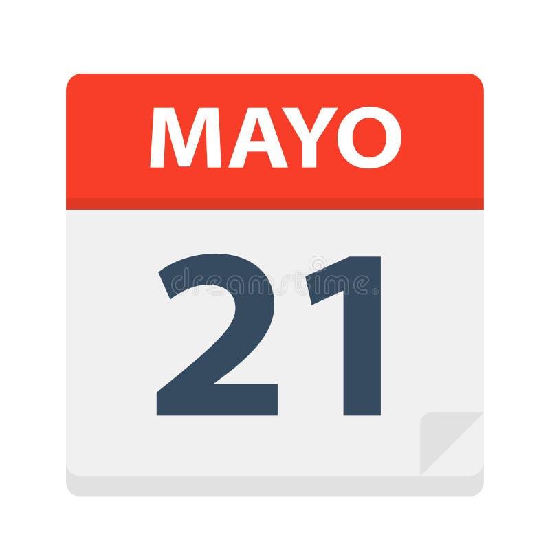Mayo 21 - kalendersymbolen - Maj 21 Vektorillustration av det spanska kalenderbladet vektor illustrationer