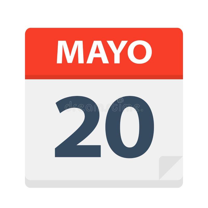 Mayo 20 - kalendersymbolen - Maj 20 Vektorillustration av det spanska kalenderbladet royaltyfri illustrationer