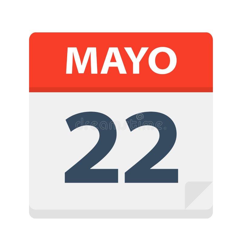 Mayo 22 - kalendersymbolen - Maj 22 Vektorillustration av det spanska kalenderbladet vektor illustrationer