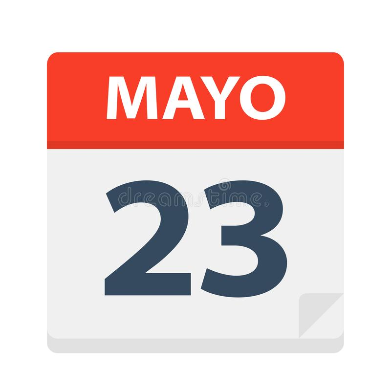 Mayo 23 - kalendersymbolen - Maj 23 Vektorillustration av det spanska kalenderbladet royaltyfri illustrationer