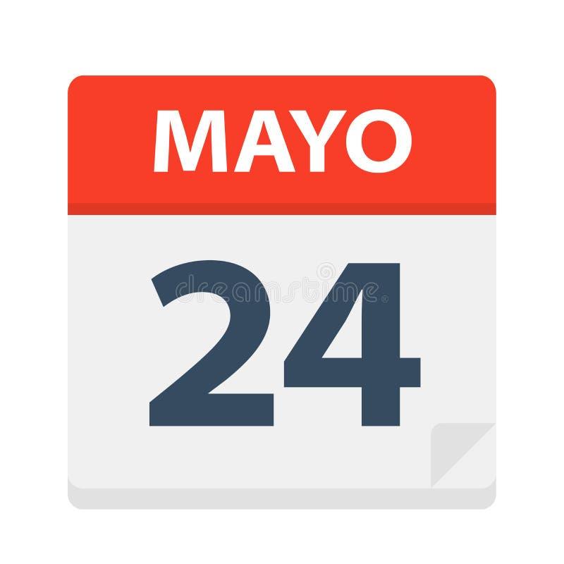 Mayo 24 - kalendersymbolen - Maj 24 Vektorillustration av det spanska kalenderbladet royaltyfri illustrationer