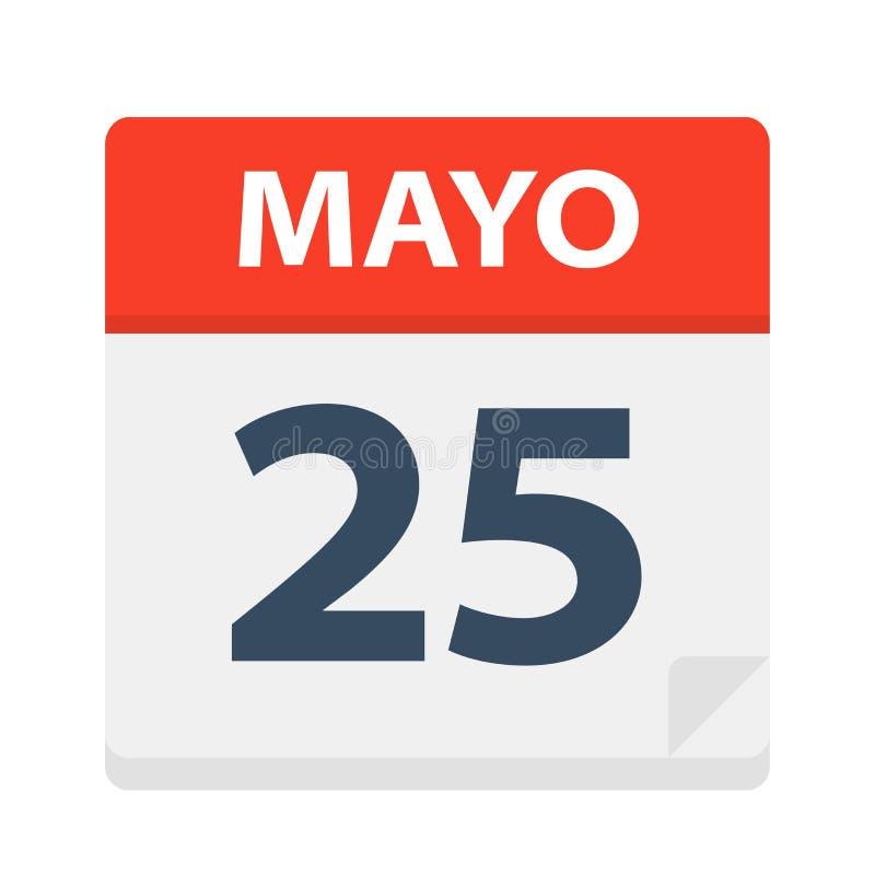 Mayo 25 - kalendersymbolen - Maj 25 Vektorillustration av det spanska kalenderbladet stock illustrationer