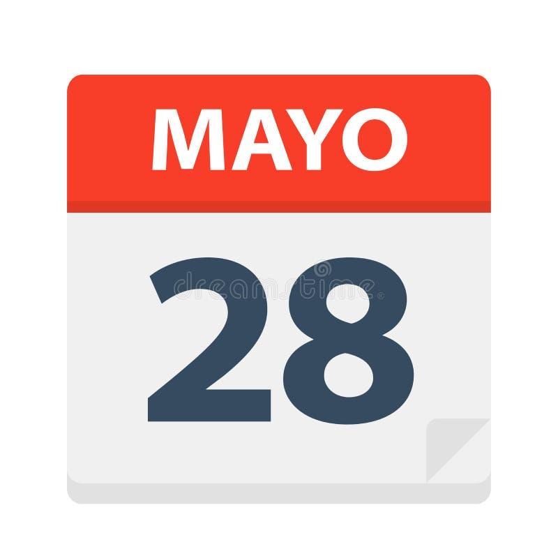 Mayo 28 - kalendersymbolen - Maj 28 Vektorillustration av det spanska kalenderbladet stock illustrationer