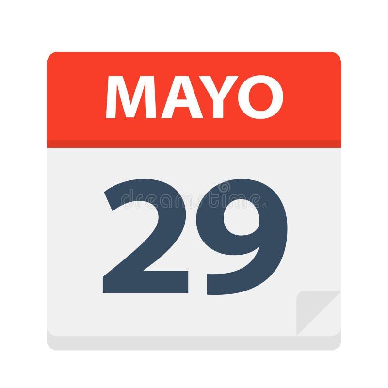 Mayo 29 - kalendersymbolen - Maj 29 Vektorillustration av det spanska kalenderbladet stock illustrationer