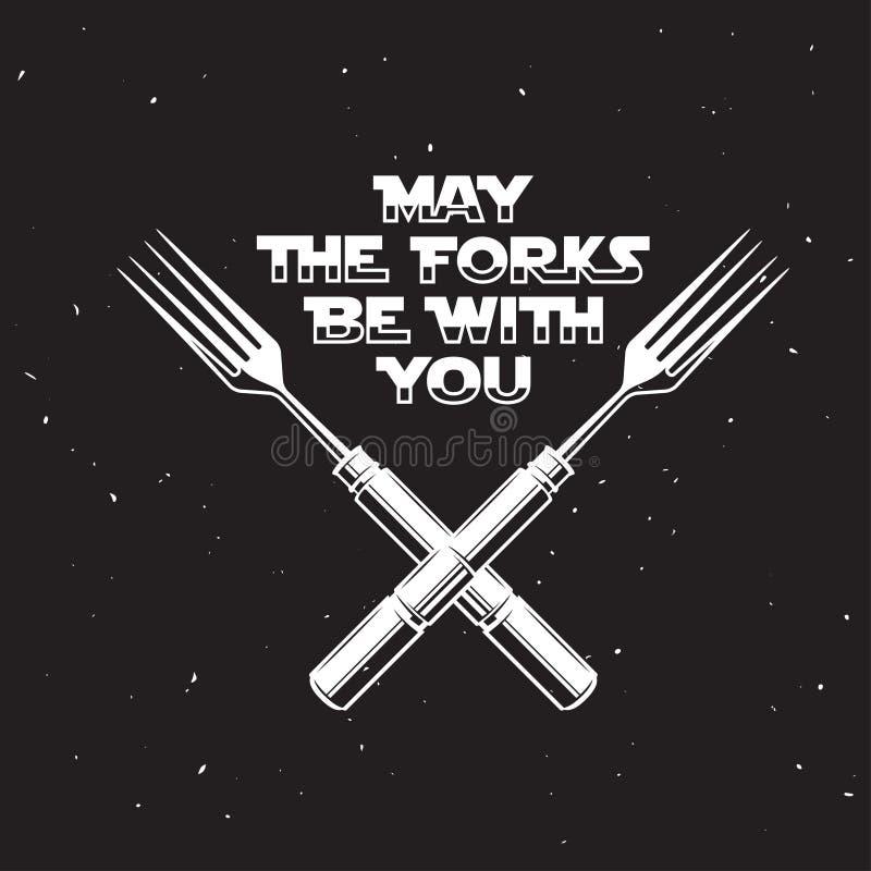 Mayo las bifurcaciones sean con usted cocina y cocinar el cartel relacionado Ejemplo del vintage del vector stock de ilustración