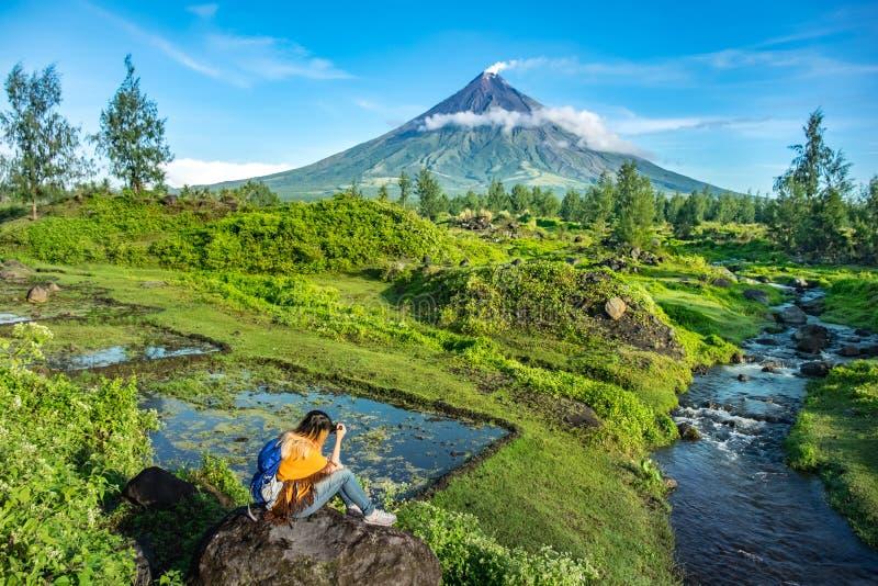 Mayon Vocalno i Legazpi, Filippinerna arkivbilder