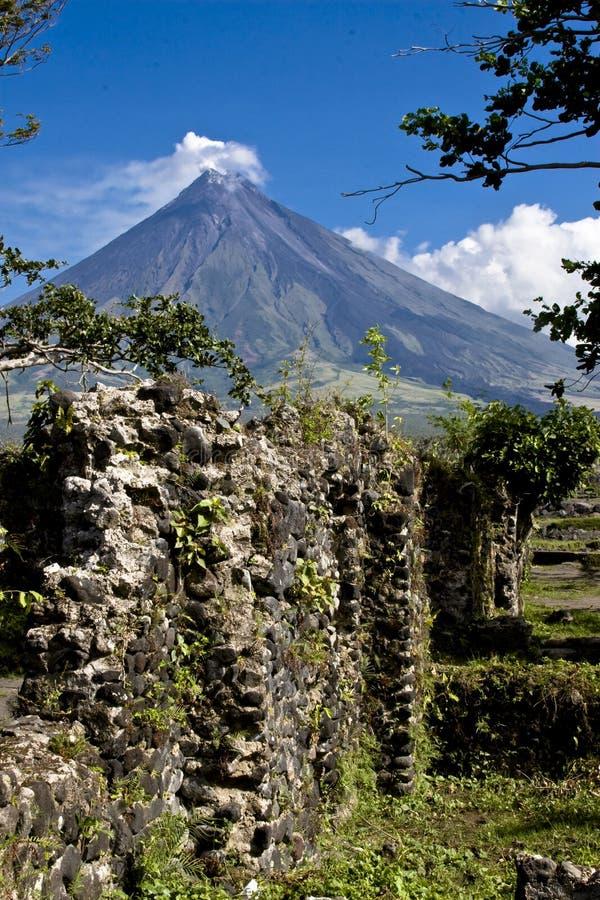 Mayon Volcano Behind A Wall Stock Photography
