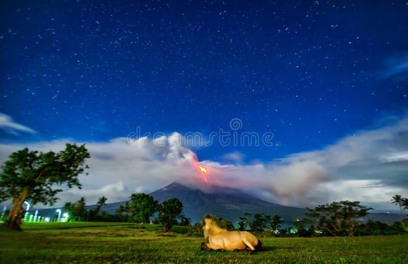 Mayon volcano. Nightshot at quituinan hills stock photography