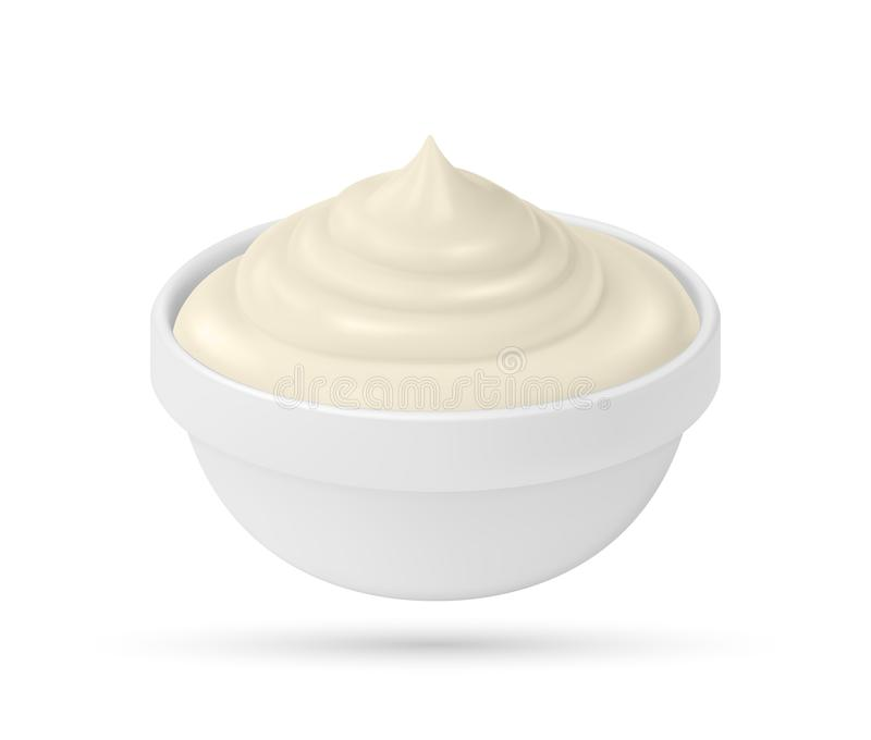 Mayonnaise sauce in bowl isolated on white background royalty free stock images