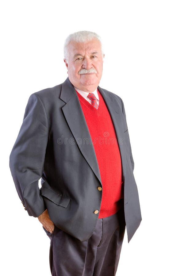 Mayor cabelludo blanco con el suéter y el traje rojos imágenes de archivo libres de regalías