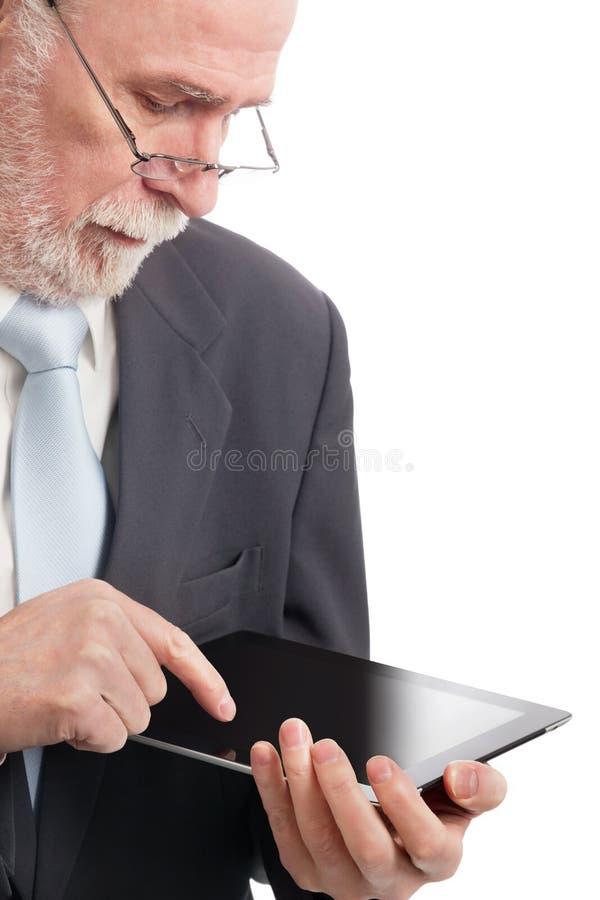 Mayor con PC de la tablilla fotos de archivo