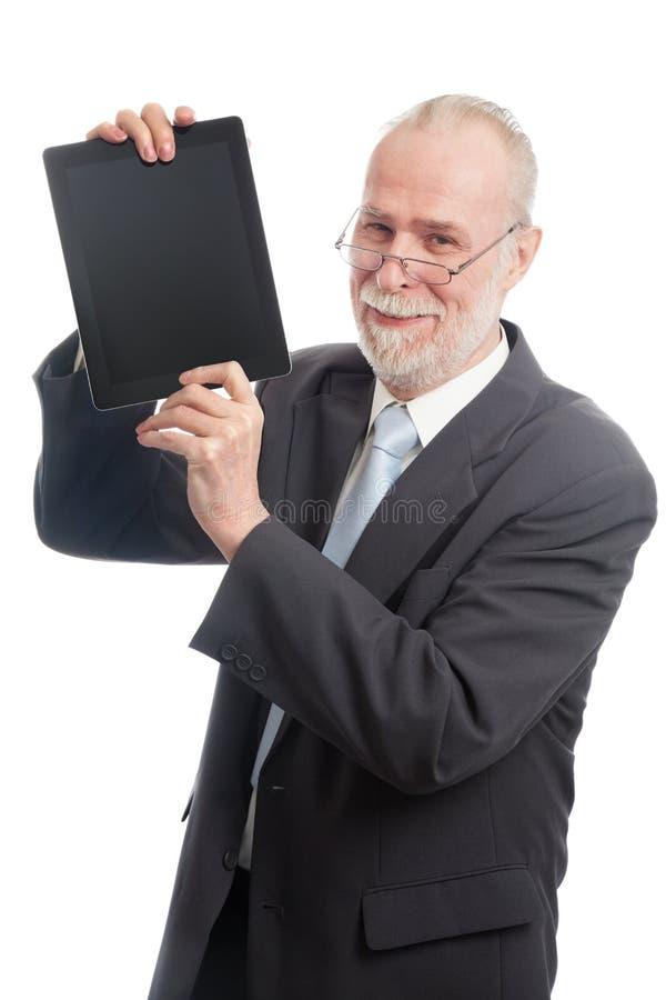 Mayor con PC de la tablilla imagen de archivo