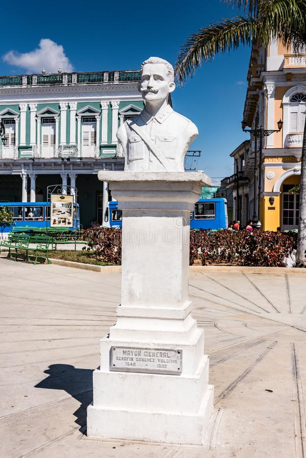 Mayor General Serafin Sanchez Statue. Sancti Spiritus , Cuba / March 15, 2017: White statue of Mayor General Serafin Sanches in park named for the man royalty free stock images