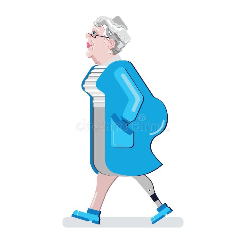 Mayor inhabilitado Miembro artificial Pierna prostética Tome el cuidado para la mujer mayor Persona inválida Illustrati del vecto ilustración del vector