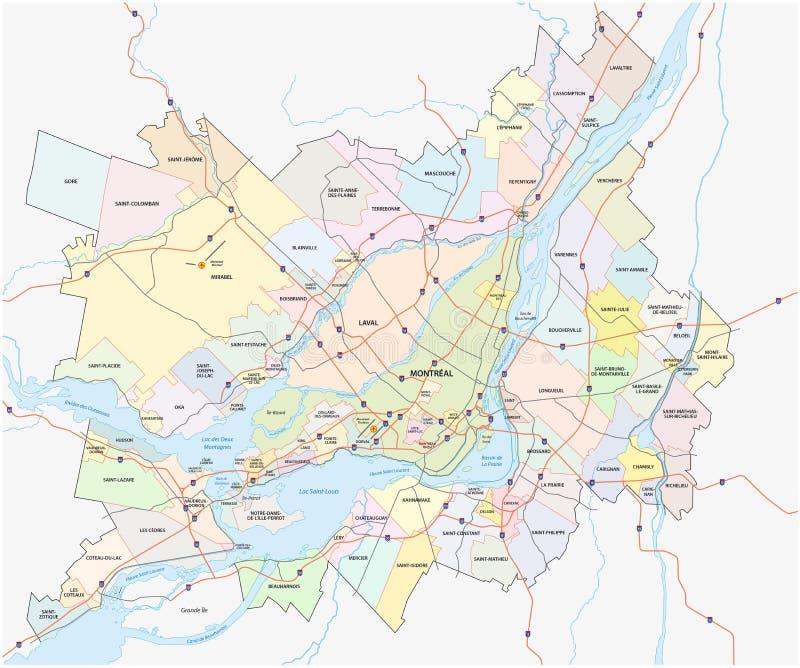 Mayor mapa de Montreal ilustración del vector