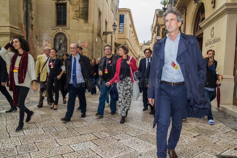 Mayor paolo perrone european commission lecce 2019 royalty free stock photo