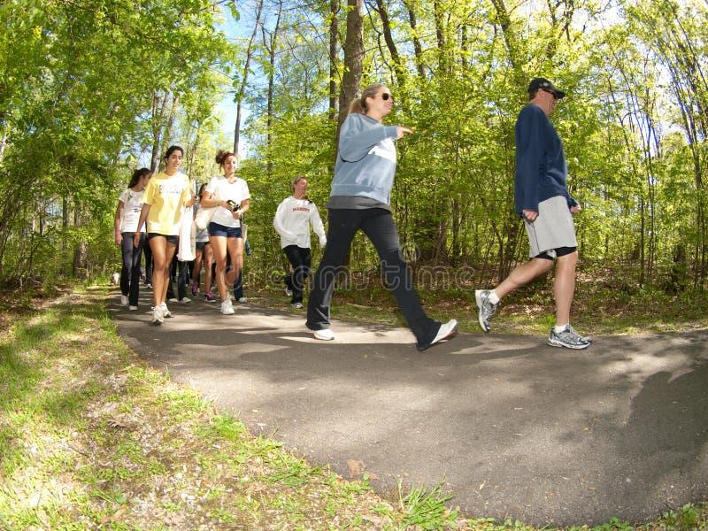 Mayor's Wellness Campaign. Franklin Lakes - 24- APRIL - SN-63456 - Teen Kula for Karma and Mayor Maura DeNicola's Mayors Wellness Campaign. Runners on the trail royalty free stock photography