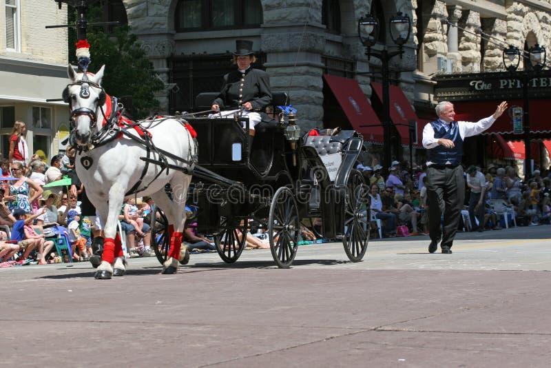 Mayor Tom Barrett walks next to his carriage stock photo