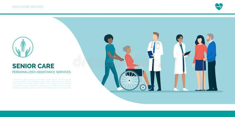 Mayores con el equipo de cuidadores y de doctores profesionales ilustración del vector