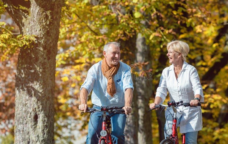 Mayores en las bicicletas que tienen viaje en parque imagenes de archivo