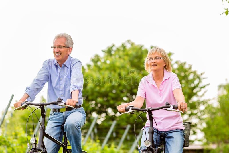 Mayores que ejercitan con la bicicleta fotos de archivo libres de regalías