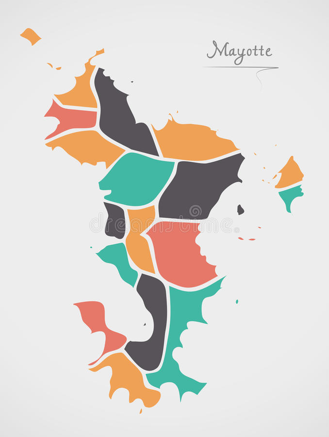 Mayotte Map with states and modern round shapes. Illustration vector illustration