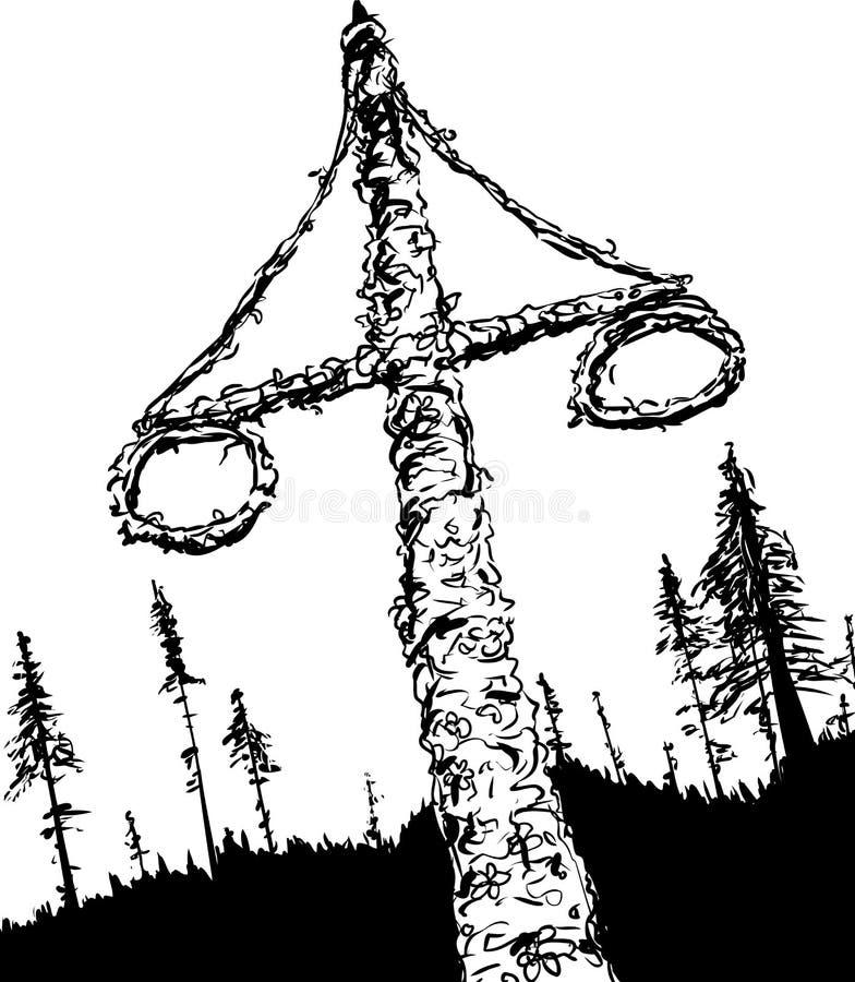 Maypole e madeiras suecos esboçados dos plenos verões ilustração stock