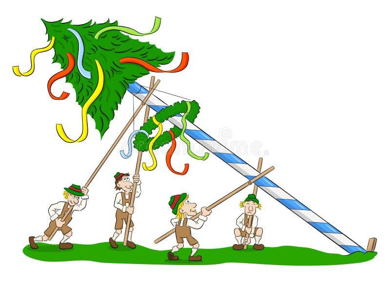 Maypole que está sendo estabelecido-se por homens fortes ilustração royalty free