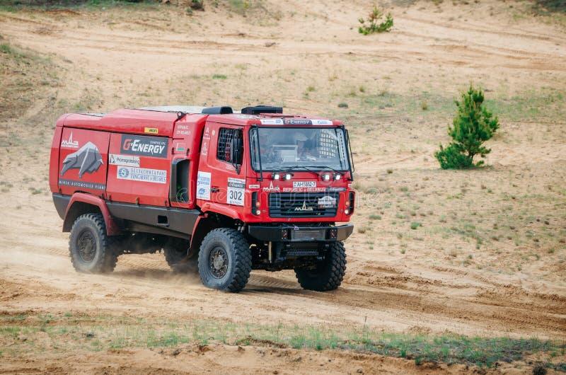 MAZ赛跑的队在巴哈集会的达喀尔卡车在白俄罗斯 免版税库存图片