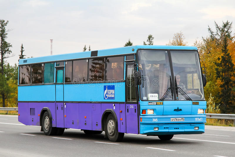MAZ 152. NOVYY URENGOY, RUSSIA - AUGUST 31, 2012: Blue coach bus MAZ 152 in the city street stock photography