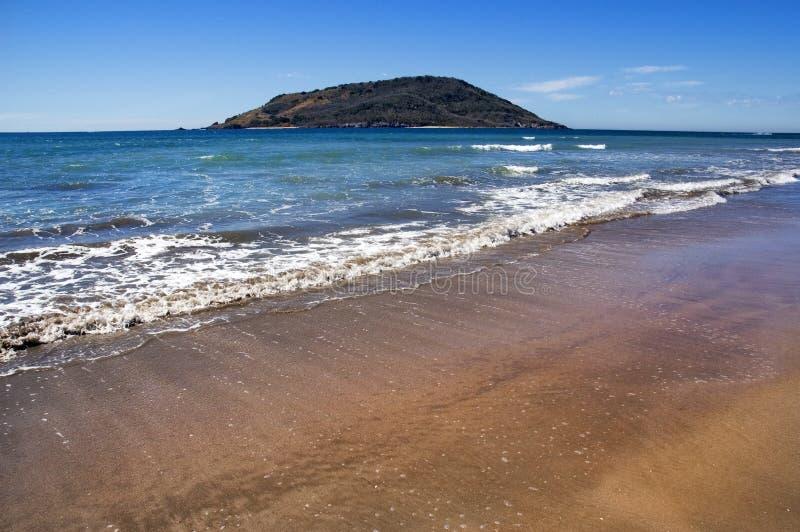 Mazatlan Mexico Beach. Ocean and island - waves coming in stock photos