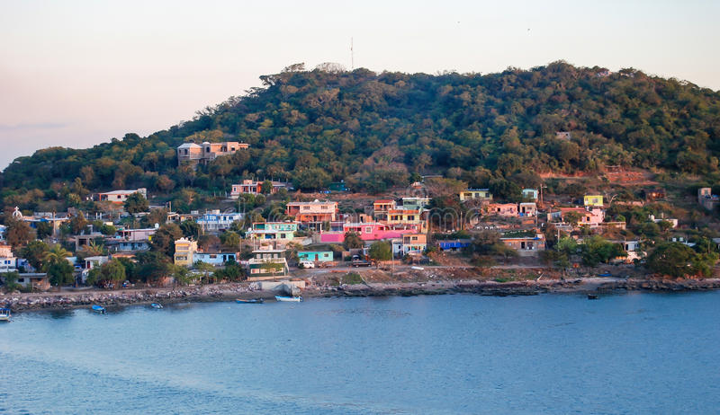 Mazatlan Mexico. Colorful homes on a hill at the harbor in Mazatlan, Mexico royalty free stock images