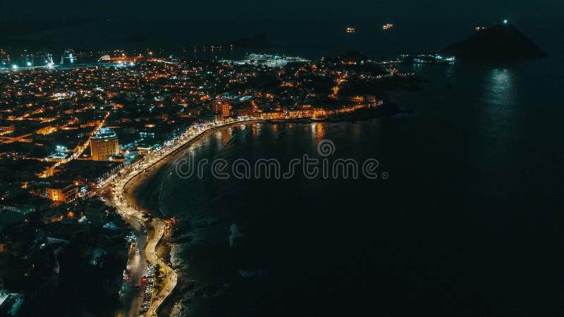 Mazatlan-Nachtim stadtzentrum gelegene Sinaloa-Lichter lizenzfreie stockfotos