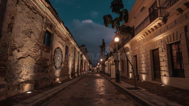 Mazatlan-Nachtim stadtzentrum gelegene Straßen von der Luft lizenzfreies stockfoto