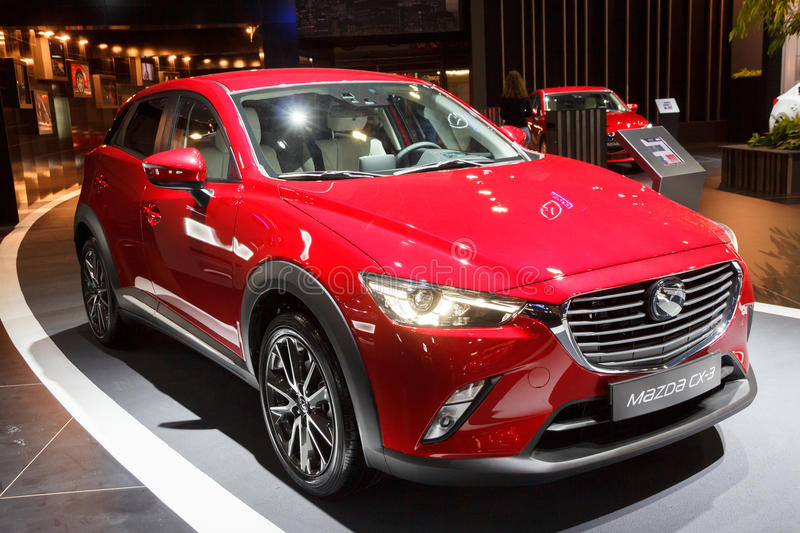 2016 Mazda CX-3 Subcompact Crossover. BRUSSELS - JAN 12, 2016: 2016 Mazda CX-3 Subcompact Crossover on display at the Brussels Motor Show royalty free stock photo
