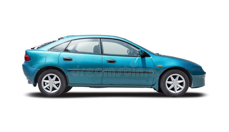 Mazda 323F isolerad på vitt royaltyfri bild