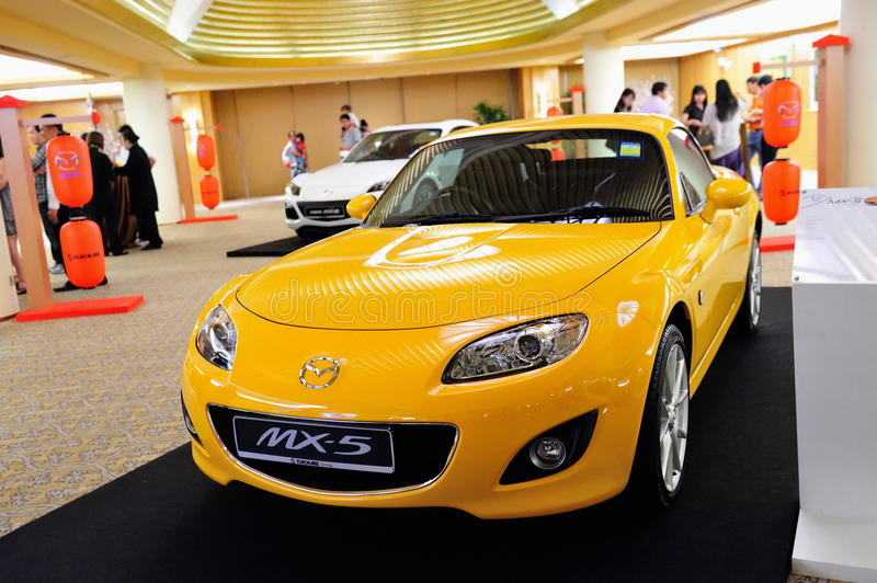 Mazda MX-5 roadster on display. At the launch of Mazda CX-5 crossover SUV in Singapore on 13 Apr 2012 stock image
